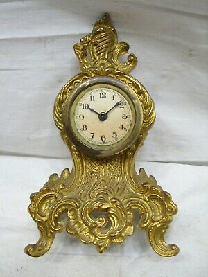 Antique Garniture Brass Tone Cast Metal Art Nouveau Shelf Clock Ornate Mantle