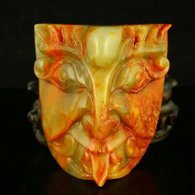 "3"" China old antique Natural handcarved hetian jade red beast face statue"