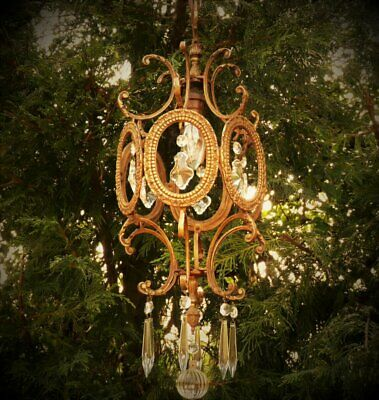 Antique French glass crystal brass rococo ceiling light cage lantern chandelier