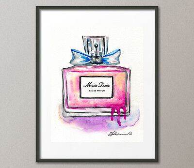 Original Watercolor Painting Miss Dior Perfume Scents Fragrances Christian Dior