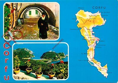 Picture Postcard; Corfu (Multiview) With Map
