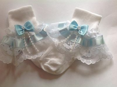 Handmade pale blue beads bow baby/girls frilly socks various sizes