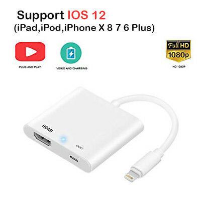 1080P 8 Pin Lightning to HDMI TV AV Adapter Cable for iPhone XS X 8 7 6 PLus