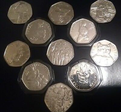 2018-17 50p coins Paddington, Beatrix, Tittle, Rabbit, Fisher, Tom Kitten, etc.