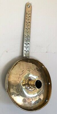 18c BRASS 'FRYING PAN' CHAMBER STICK with PUNCHED DECORATION