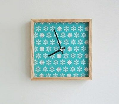 Ash Wooden Wall Clock Silent No Ticking Snow crystals Fabric -Handmade-
