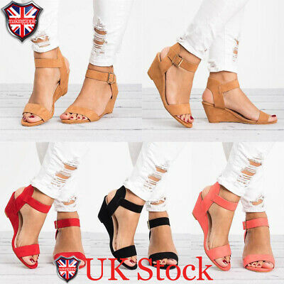 Womens Low Block Wedge Heels Sandals Ankle Strap Buckle Sandals Shoes Size 3-6.5