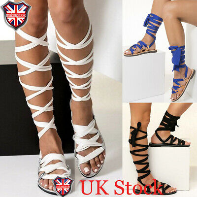UK Womens Summer Knee High Lace Up Leg Wrap Strappy Gladiator Flat Sandals Shoes