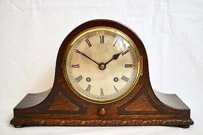 1930s EMPIRE OAK TWO TRAIN STRIKING NAPOLEON HAT VINTAGE MANTEL CLOCK