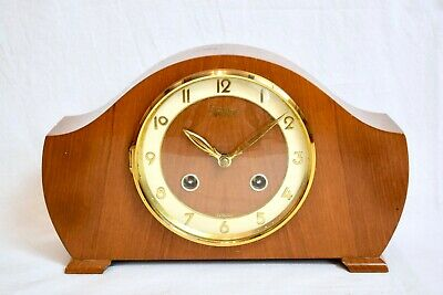 1960s BENTIMA 8 DAY WALNUT TWO TRAIN TING TANG MID CENTURY VINTAGE MANTEL CLOCK