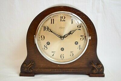 1940s GUFA/ TYMO OAK CASED WESTMINSTER CHIME VINTAGE MANTEL CLOCK