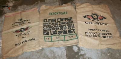 3 Unique COFFEE Bean Burlap Bags Brasil Guatemala Mexico Import Sack Decor Bag