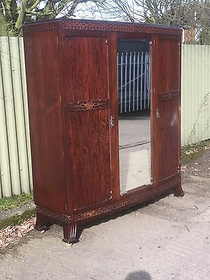 Fine Arts & Crafts Mahogany 3 Door Compactum  Fitted Wardrobe- 2 Man Delivery