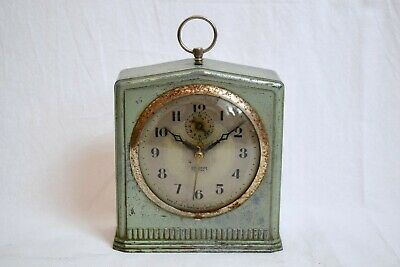 VINTAGE 1930s INGRAHAM ELECTRIC STEEL CASED ART DECO MANTEL/ ALARM CLOCK