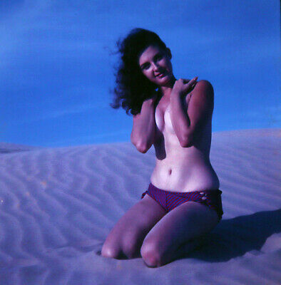 Bunny Yeager Color Camera Transparency Photograph Texas Brunette Pin Up Dunes