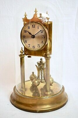 ANTIQUE 1920s GERMAN BRASS TORSION ANNIVERSARY MANTEL CLOCK & GLASS DOME