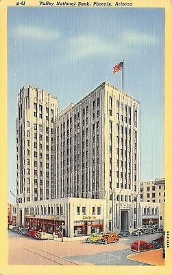 Phoenix Arizona~Valley National Bank~1940 Postcard