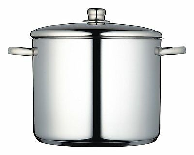 Large Deep Induction Stainless Steel Cooking Stock Pot Casserole Lid - All Hobs