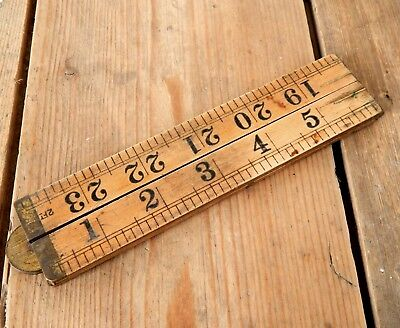 Vintage Rabone Boxwood Folding Ruler Rule No 1167 Tool - 24 Inches - 2 Foot #B