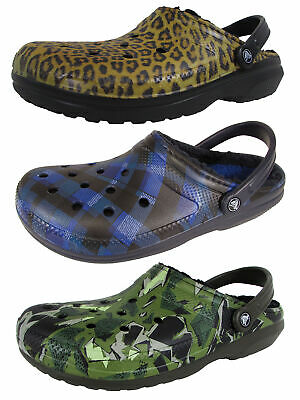 3a22a7e6456c CROCS CLASSIC LINED Graphic II Clogs Women s 8 Lily Navy Lavender ...