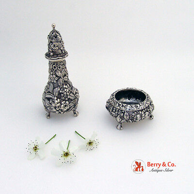Repousse Pepper Shaker and Salt Dish Rose or Repousse Sterling Silver Stieff