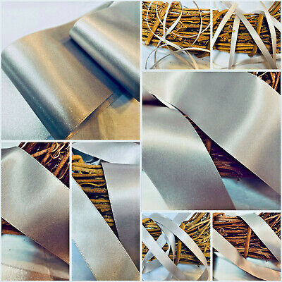Berisfords Shade 18 Silver Grey Double Satin Ribbon 3/7/10/15/25/35/50mm Widths