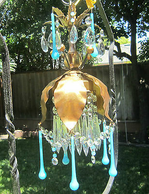 Vintage beaded gilt Tole Brass SWAG lamp chandelier Italy Blue prism OPALIN Lily