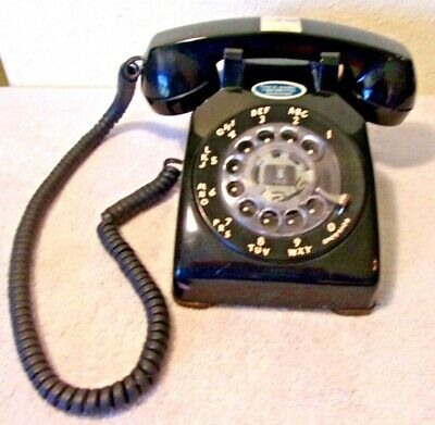 """Vintage Rotary Dial Desk Telephone Illinois Bell Western Electric Black Ex """"312"""""""