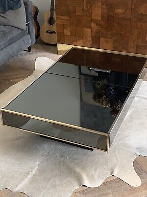 Willy Rizzo Coffee Table Brass Mirror Bar