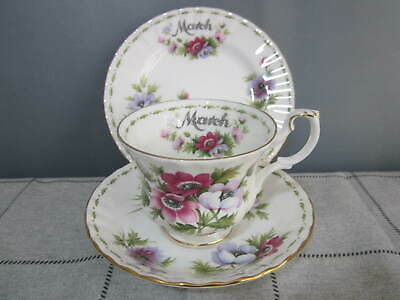 Vintage Royal Albert China Flower of the Month March Tea Trio Cup & Saucer Plate