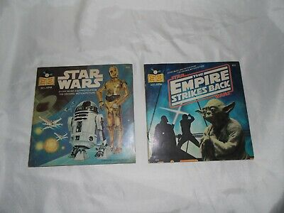 Vintage Star Wars and Empire Strikes Back Read-Along Book and Record 1979 1980