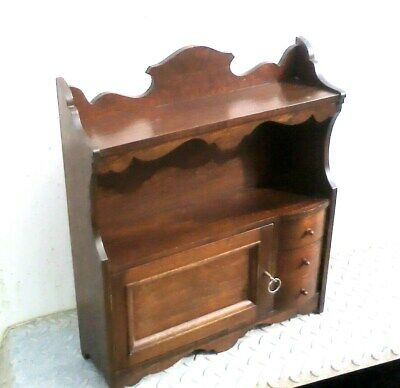 SPLENDID MAHOGANY WALL CABINET with 3 DRAWERS & its LOCK & KEY in very nice cndt