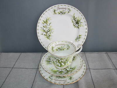 4 piece Vintage Royal Albert Flower of the Month January Tea Cup & Saucer Plates