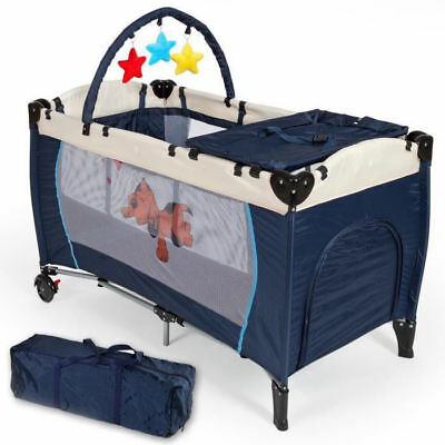 Cot Travel Camping Box for Game and Nanna Crosshatch for Kids Children