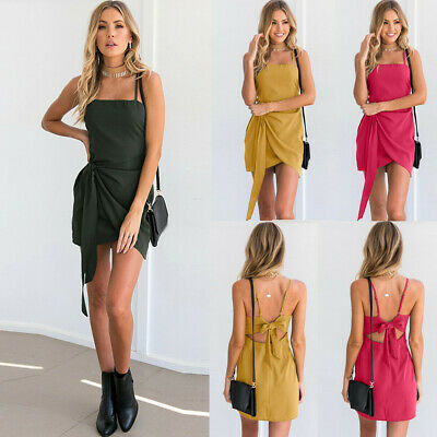US Sexy Women Strappy Dress Sleeveless Bow Backless Bandage Evening Party Dress