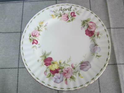 Vintage 1970 Royal Albert Flower of the Month April Sweet Pea 8 inch Bread Plate