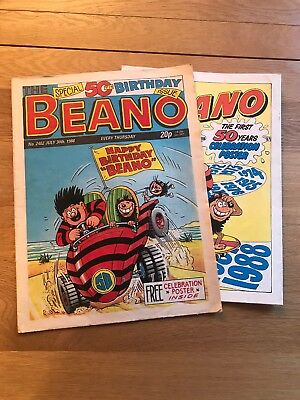 "Beano 50th birthday issue, with large ""Celebration"" poster, July 30th 1988"
