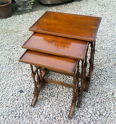 NEST of THREE SOLID YEW WOOD SIDE TABLES in jolly nice condition