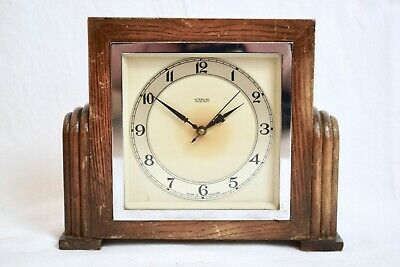 1930s STERLING ELECTRIC ART DECO OAK CASED VINTAGE MANTEL CLOCK
