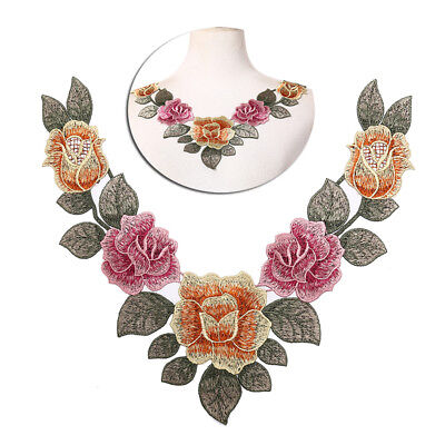 diy embroidered floral lace neckline neck collar trim clothes sewing appliqu BS