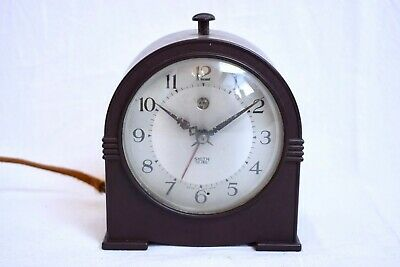 1930s SMITH SECTRIC ART DECO BAKELITE CASED VINTAGE MANTEL/ ALARM CLOCK