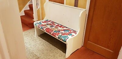 Lovely Rustic White Painted Church Solid Heavy Wooden Upholstered Pew Bench.