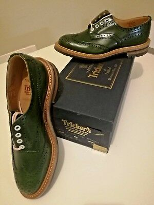 TRICKER'S BOWOOD GREEN COMMANDO SOLE GOODYEAR UK7 1/2 - 5 NEW Trickers shoes
