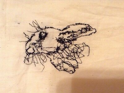 Handmade HARE Free Machine Embroidered Picture on Cotton Fabric
