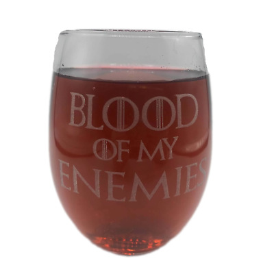 BLOOD OF MY ENEMIES Stemless Wine Glass Engraved 21 oz Funny Gift Girlfriend