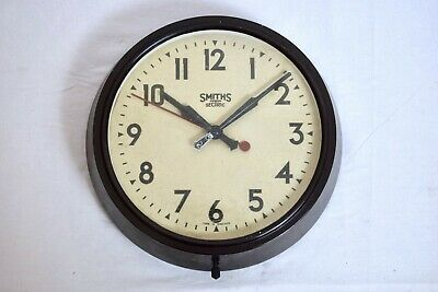 "1940s SMITHS SECTRIC BAKELITE INDUSTRIAL 11"" ELECTRIC 240V VINTAGE WALL CLOCK"