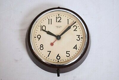 "1940s SMITHS SECTRIC BAKELITE INDUSTRIAL 8"" ELECTRIC 240V VINTAGE WALL CLOCK"