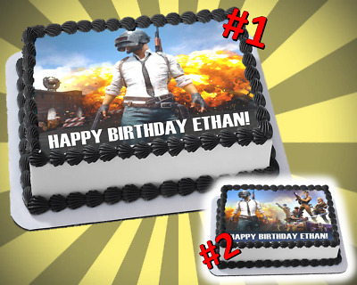 PUBG Edible Cake Topper Videogame Birthday Party Frosting Sheet