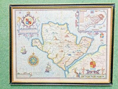 Early 17th C John Speed cooper engraved map of Anglesey with inset of Beaumaris