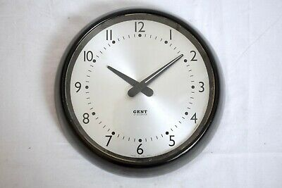 "1950s GENT OF LEICESTER BAKELITE INDUSTRIAL 11"" ELECTRIC 240V VINTAGE WALL CLOCK"